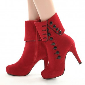 Row Button Ankle Boots High Heels Women Shoes