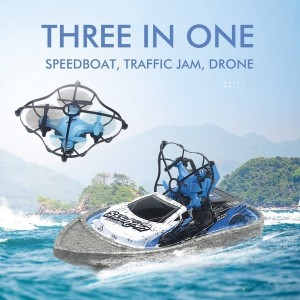 Three in One Flight Boat Speedboat Traffic Jam Drone Aircraft Helicopter Water Racing Boat Drone RTF Aircraft Toys Kid Gift