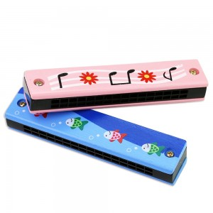 Cartoon Painted Wooden Harmonica Music Toys