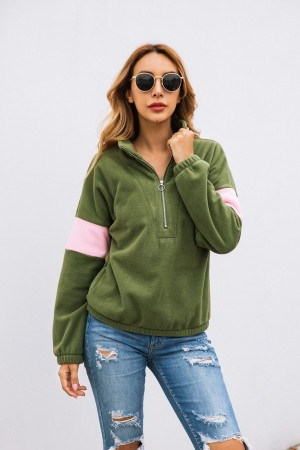 Women Zipper Lapel Collar Sweater