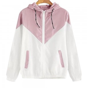 Women Color Matching Hooded Zipper Coat
