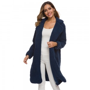 Women Lapeled Plush Cardigan Long Coat