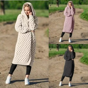 Women Long Hooded Cardigan