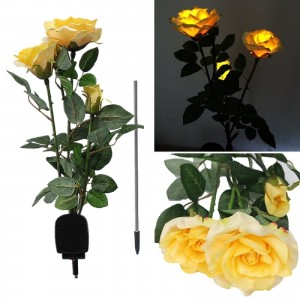 Simulation Rose Flower Solar Powered Lawn Lamp