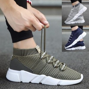 Mens Fashion Casual Sneakers Mesh Breathable Lace-up Shoes