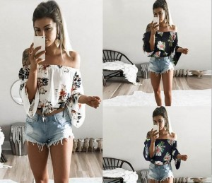 One Shoulder Sexy Strapless Floral Top