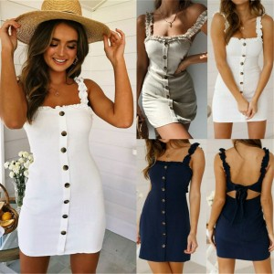 Women Strappy Button Mini Dress