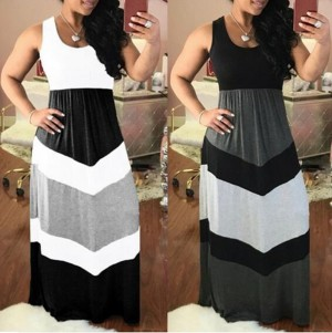 Women Fashion Color Block High Waist Maxi Dress