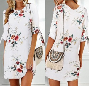 Summer Printed Casual Mini Dress