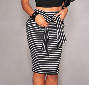 Women High-waist Striped Pencil Skirt