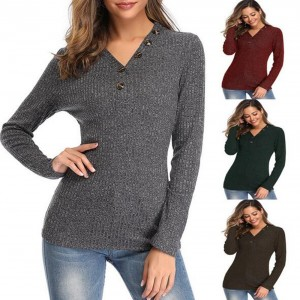V-Neck Button Long-Sleeved Pullover Sweater