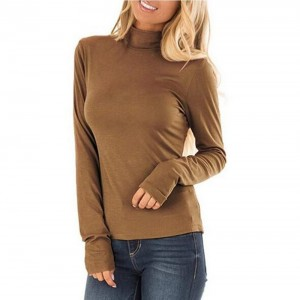 Long-Sleeved High-Neck T-Shirt Casual Top