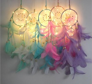 Dream Catcher with Night Light Feathers Light