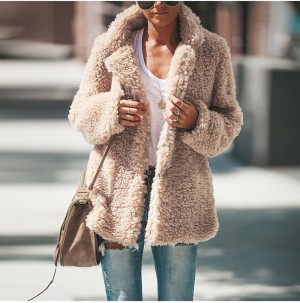 Winter Women Lapel Plush Coat