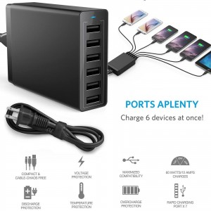 Travel Multi 6 Port USB Charger