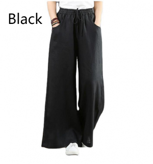 Women's high-waisted cotton and linen trousers