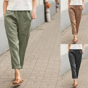 Ladies' Comfortable Cotton And Linen Casual Pants
