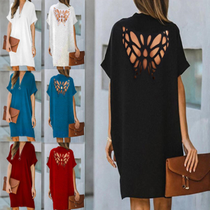 Loose Butterfly Hollowed-out Solid Color Dress