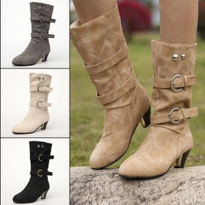 Belt Buckle Roman Women Boots