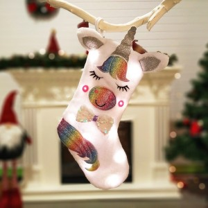 Cartoon Plush Unicorn Christmas Socks
