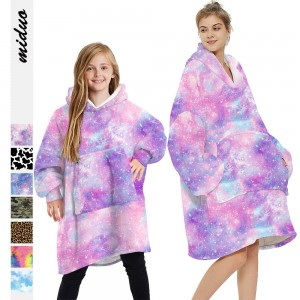 Adult Kids Winter Printed Oversize Hooded Blanket with Sleeve