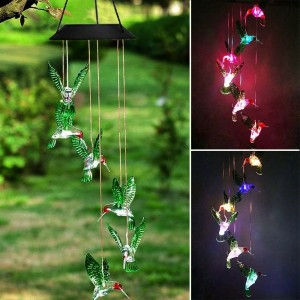 LED Hummingbird Color-Changing Power Solar Wind Chimes