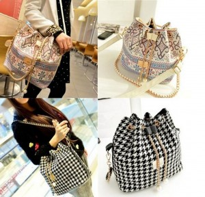 Women Drawstring Houndstooth Bucket Bag Lady's Handbag