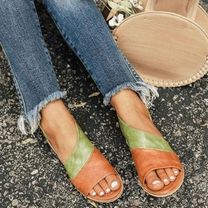 Summer Women Fashion Casual Peep Toe Pointed Flat Sandals