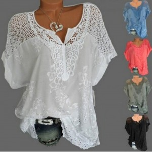 Women Fashion Loose Lace Blouse V Neck T Shirt