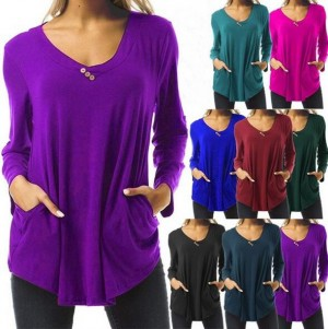 Buttoned Long Sleeved T-shirt Top