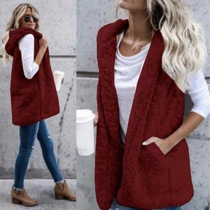 Women Fashion Sleeveless Hooded Vest