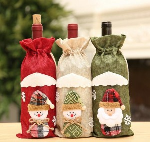 Christmas Red Wine Bottle Cover Set