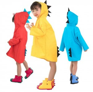 Kids Cute Raincoat Waterproof Hooded Jacket