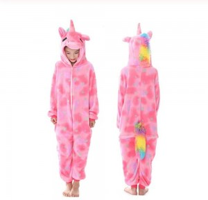 Girls Winter Unicorn Cartoon Jumpsuit Pajamas