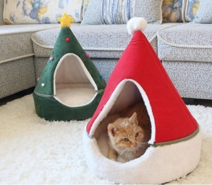 Christmas Cute Cat House Half Closed