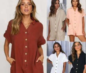 Summer Shirt Button Jumpsuit Rompers For Women