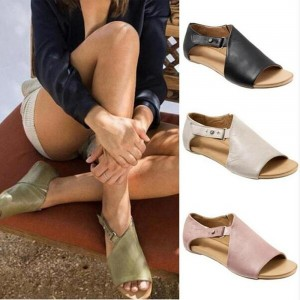 Women's Fashion Summer Shoes Leather Flat Sandals