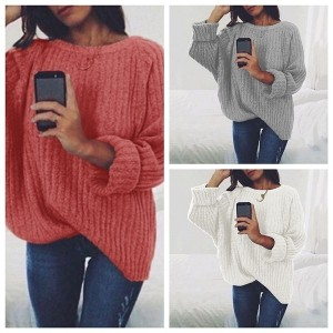 Ladies Fashion Solid Color Round Neck Knitted Top Sweater